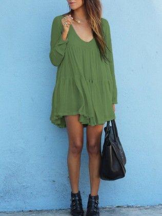 Green V Neck Long Sleeve Pleated Dress - She In