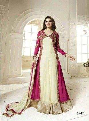 Gown Effect Long Anarkali Semi Stitched Suit - Fashion Fiesta