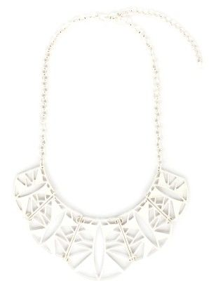Aisha Sun Ray Scallop White Necklace - Baublebeads