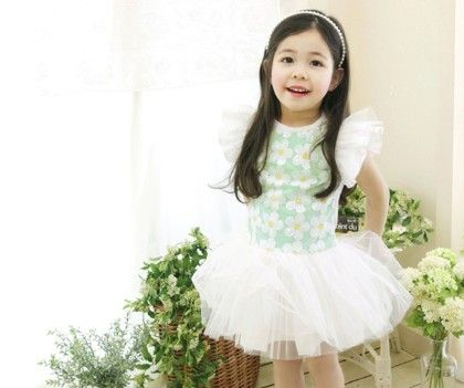 Ruffle Sleeves Floral Tutu Frock - White - Little Dress Up