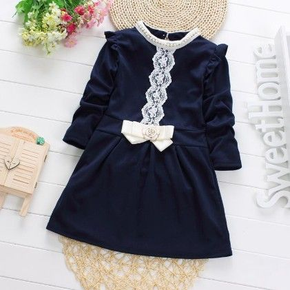 Elegant Dark Blue Dress With Bow And Lace Work - Maisie