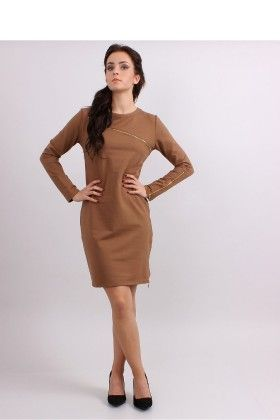 Zipper Loose Fit Day Dress Brown - Inello