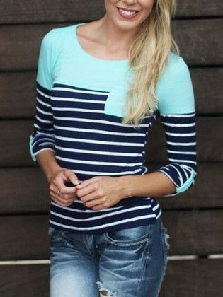 Blue Round Neck Striped Pocket T-shirt - She In