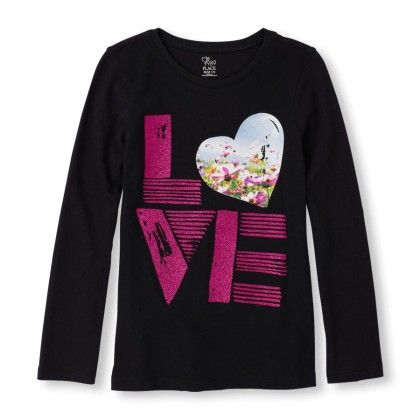 Long Sleeve Photo-real 'love' Graphic Tee - The Children's Place