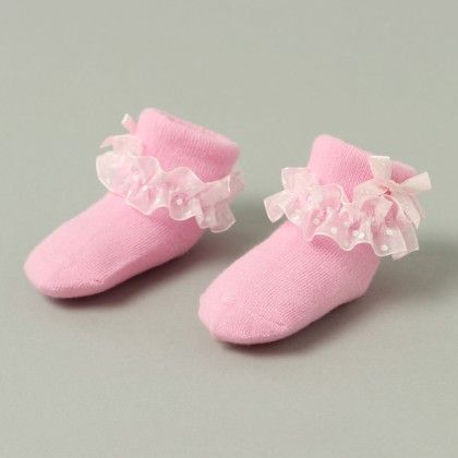 Finger Hard Cover Booties Baby Pink With Bow Print - Janya