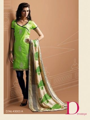 Chanderi Cotton Silk Dress Material Green - Touch Trends Ethnic