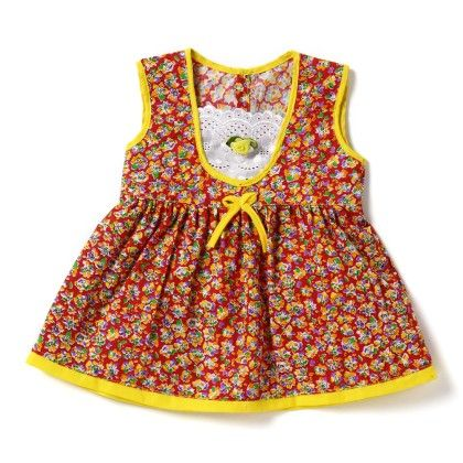 Allover Floral Print Frock In Red - BUBBLES