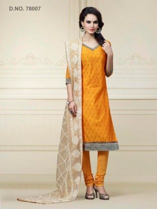 Yellow Chanderi Silk Dress Material - Touch Trends Ethnic