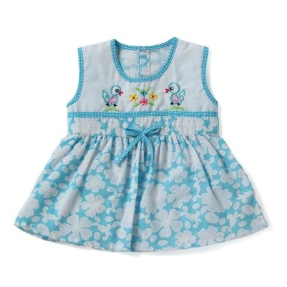 Blue And White Floral Print Frock - BUBBLES