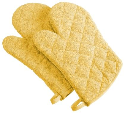 Terry Oven Mitt Yellow Set Of - Design Imports