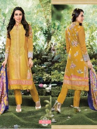 All Over Printed Yellow Dress Material - Fashion Fiesta