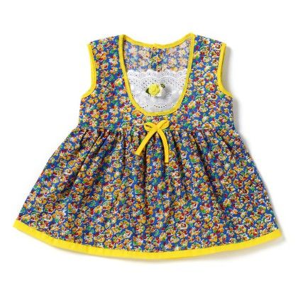Allover Floral Print Frock In Blue - BUBBLES