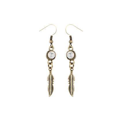 Leah Olive Leaf Drop Earrings - Baublebeads