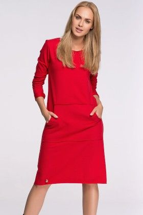 Loose Fitted Shift Day Dress Red - Makadamia