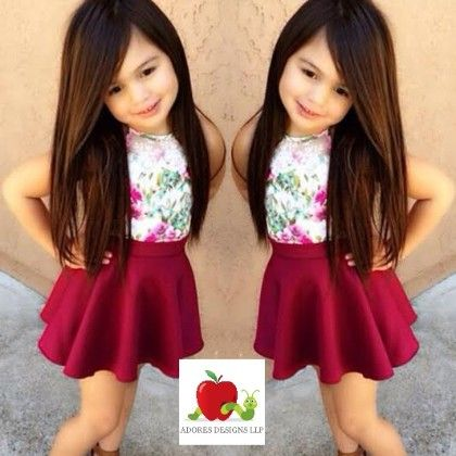 Floral Sleevless And Plain Skirt Clothing Set - Adores