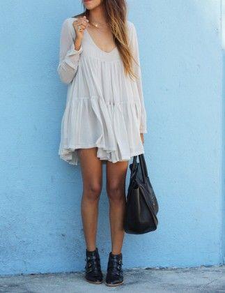 White V Neck Long Sleeve Pleated Dress - She In