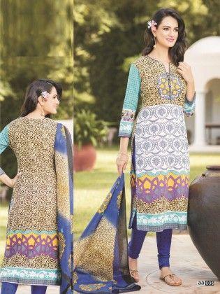 Cotton Printed Blue Shade Dress Material - Fashion Fiesta