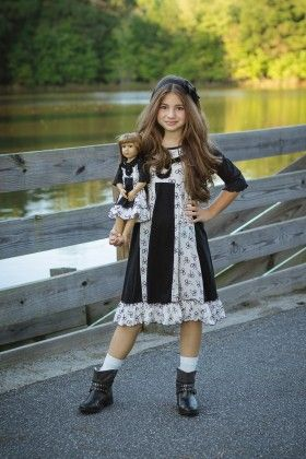 Black And White Sarah Dress & Doll Dress - Lilli LoveBird