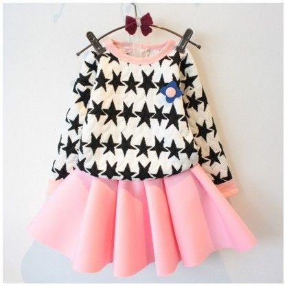 Star Print Top & Pleated Skirt - Pink - Maisie