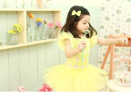 Ruffle Sleeves Floral Tutu Frock - Yellow - Little Dress Up