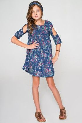 Blue Floral Pleated Cutout Dress And Headband - Toddler And Girls - Yo Baby