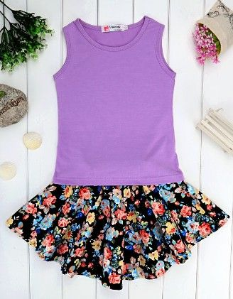 Purple Cotton Blend Sleeveless Top And Skirt Set - Drape In Vogue