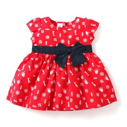 All Over Printed Girls Dress - Red - TOFFYHOUSE