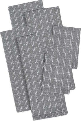 Granite Heavyweight Dishtowels, Set Of 4 And 2 Dishcloths - Design Imports