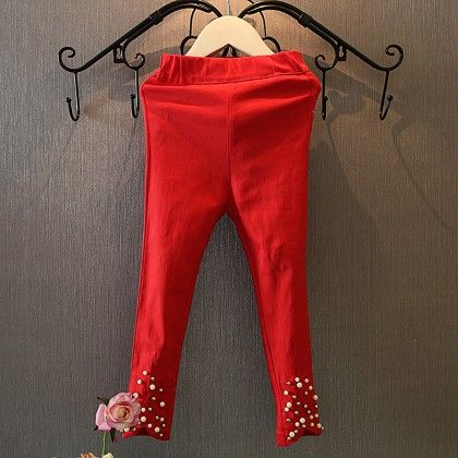 Pearl Highlighted Leggings - Red - Mauve Collection
