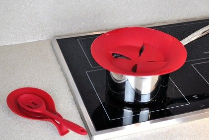 Set Of 2 Silicone Boil Over Spill Guard-red - Design Imports