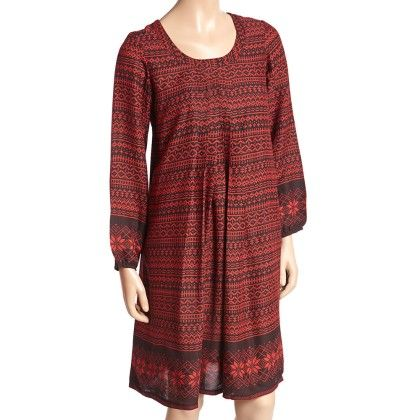 Burgundy And Black Geometric Pleated Shift Dress - Women - Yo Baby