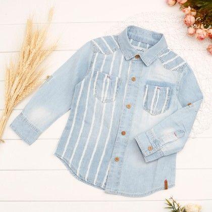 Trendy Denim Stripped Shirt - Denny's Denim