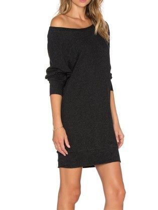 Boat Neck Jumpers Long Sleeve Bodycon Dress Black - She In