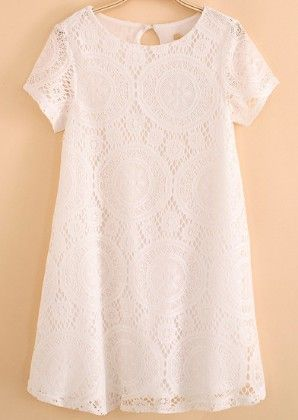 Short Sleeve Hollow Lace Dress White - She In