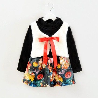 Cute Floral Print Dress With Attached Furry Jacket - Black - Mellow