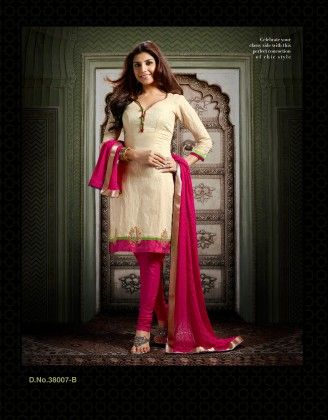 Chanderi Silk  Beige Dress Material - Touch Trends Ethnic