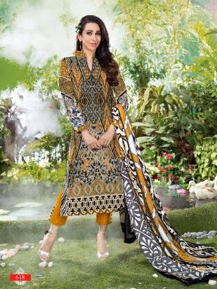All Over Printed Beige And Black Dress Material - Fashion Fiesta
