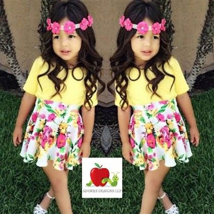 Yellow Top And Floral Clothing Set - Adores