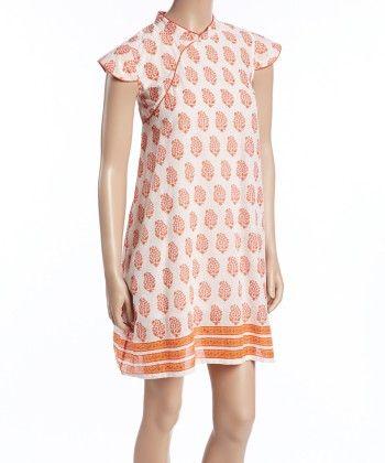 Orange And White Floral Surplice Shift Dress - Women - Yo Baby