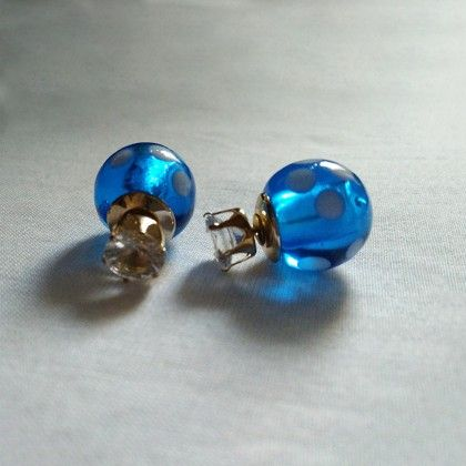 Blue & Golden Earrings - Trendy And Style