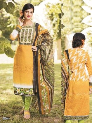 Cotton Printed Yellow Dress-material - Fashion Fiesta