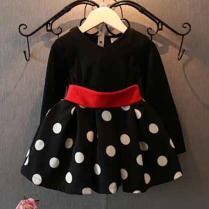 Classic Black And White Polka Dot Dress - Peach Giirl