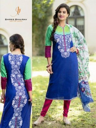 Blue Cotton Dress Material - Fashion Fiesta
