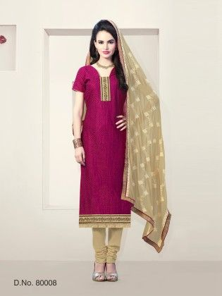 Magenta Chanderi Silk Dress Material - Touch Trends Ethnic