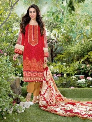 All Over Printed Red Dress Material - Fashion Fiesta