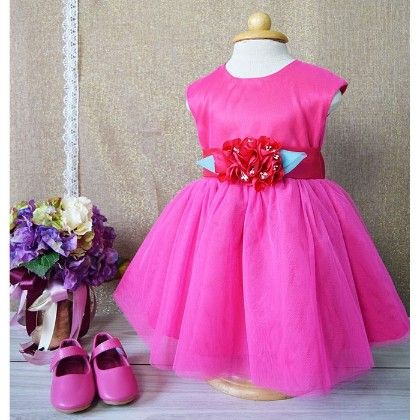 Hot Pink With Rose And Bow Dress - Little Coogie
