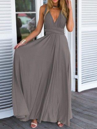 Grey Deep V Neck Self-tie Maxi Dress - She In