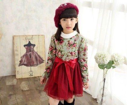 Red And Green Fleece Dress - Petite Kids