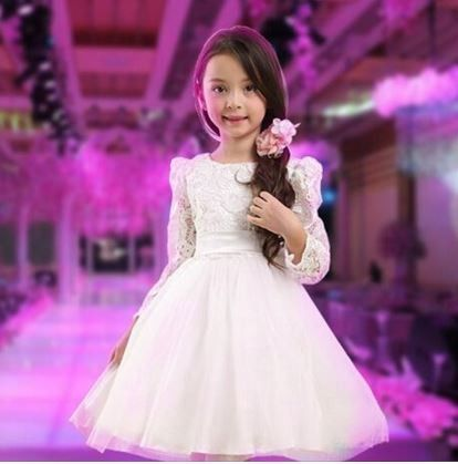 Full Sleeves White Dress With Bow - Tickles