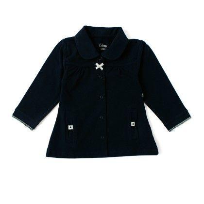 Baby Girls Long Sleeve Jacket With Fancy Pocket - Navy - Babeez